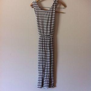 LOFT Black & White Striped Cross Back Dress
